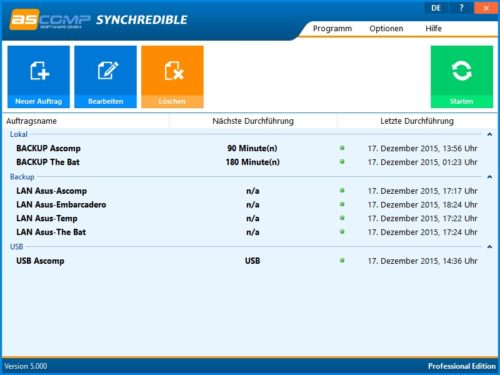Synchredible 5.1 Screenshot Hauptmenü
