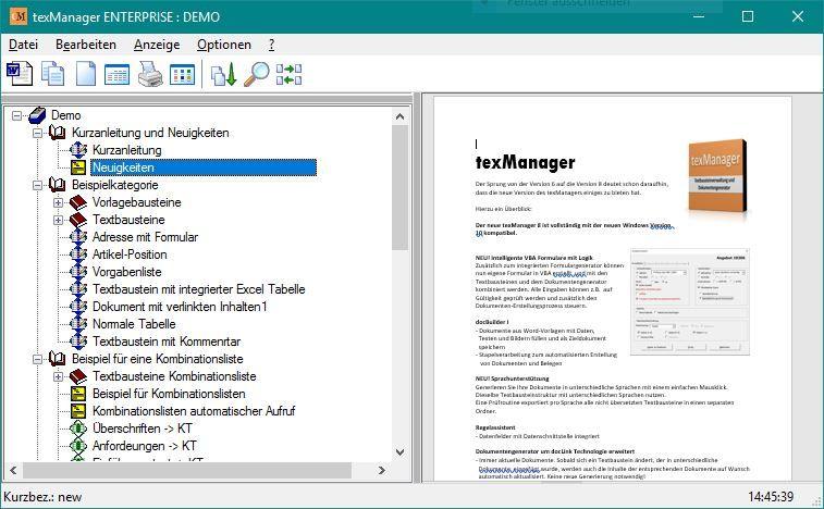texManager 9: Textbausteinverwaltung und Dokumentengenerator in einem
