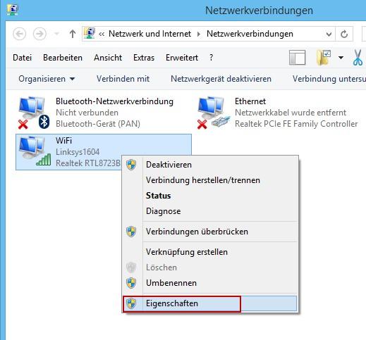 Adaptereinstellung ändern für die Netzwerkadapter