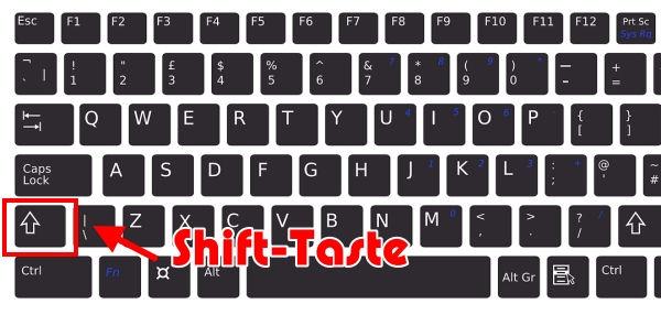 Shift-Taste auf der Tastatur
