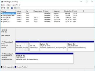 Datenträgerverwaltung öffnen bei Windows 10