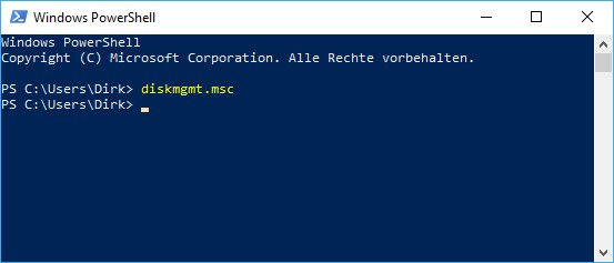 Datenträgerverwaltung öffnen über Windows PowerShell
