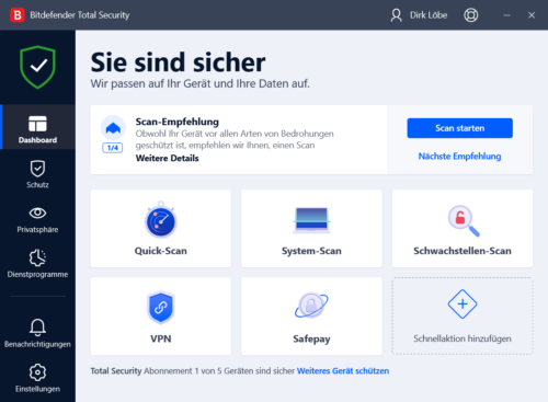 Bitdefender Total Security 2020 Dashboard